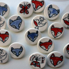 Porcelain brooches -ready to ship -red fox, robin and star, blue wolf, butterfly