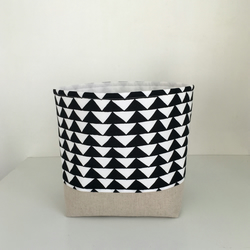 Storage Basket Fabric Modern Black and White Monochrome Triangles