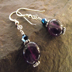 Amethyst gemstone crystal sterling silver earrings