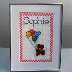 Personalised Handstitched Childrens Picture - ANY NAME AVALIABLE