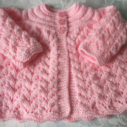 Hand Knitted Pink Matinee Cardigan, Fits 0 - 3 mths