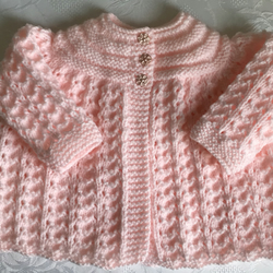 Hand Knitted Peach Matinee Cardigan will fit 0-3 mths
