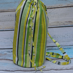 Bright striped convertible duffel to backpack bag, green  yellow OOAK OFFER CODE