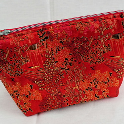Red Chinese Style woven Satin Make-up Toiletry bag OFFER CODE