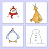 Hand Drawn Christmas Card Pack of 4 Originals (Ref B1)