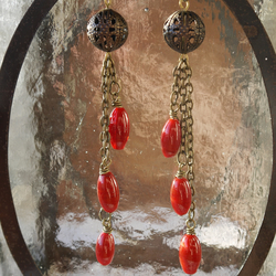 Filigree Bead and Red Drops Earrings