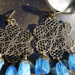 Large Blue Chandelier Earrings with Flower Detail