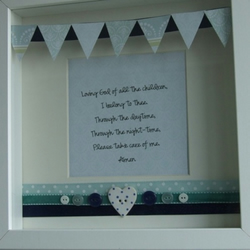 Framed Prayer: Blue Tones- New Baby, Christening or First Holy Communion