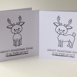 Christmas Cards,'Lets Colour In' Kids Personalised Xmas Cards 5pk,Handmade Cards