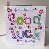Greeting Card,Good Luck,Printed Applique Design,Hand Finished Card