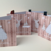 Christmas Cards,5pk,'Winter'Printed Design,Handmade, Can Be Personalised.