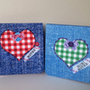 Notebooks Set of Two,'Gingham Hearts and Denim,Handmade Notebooks 2pk