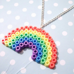 Bright Pastel Rainbow Hama Beads Necklace