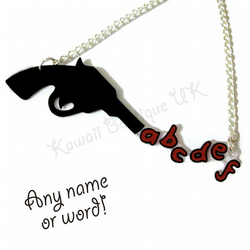 Black Pistol Personalised Name/Word Necklace