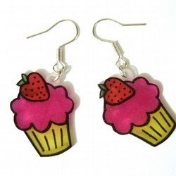 Kitch Pink Strawberry Cupcake Earrings