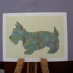 FOUR DIGITAL PRINTS – VINTAGE-STYLE SCOTTIE DOG - FREE POSTAGE!