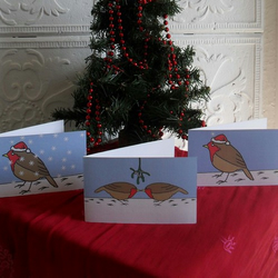 Set of six Christmas cards – Robins in the snow