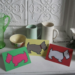 Patchwork Scottie Dogs! Three blank greetings cards
