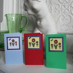 Three blank greetings cards - Patchwork Flowers with butterflies