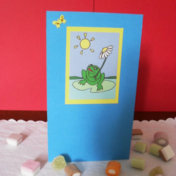 Blank greetings card - Alfie's Frog and the Butterfly