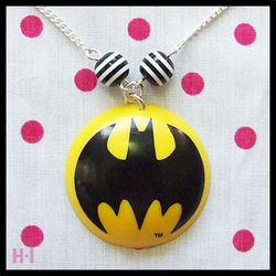 Batman and stripey beads Necklace