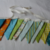 3 metres of Bunting - Blue, orange, green. yellow and white tones - Riley Blake