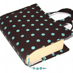 Book Cover Bag TURQUOISE POLKA DOT
