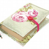 Fabric Book Cover ENGLISH ROSE GREEN