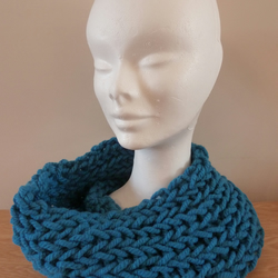 Chunky Knitted Cowl - Turquoise