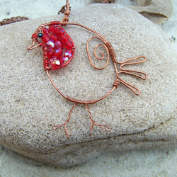 Red Robin Copper & Crystal Pendant Necklace