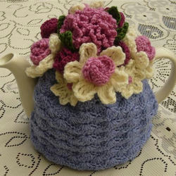 Crochet Tea Cosy/Lilac with Flower Garden Top (Made to order)