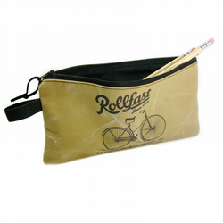 Canvas Pencil Case, Tan Pencil Bag, Vintage Bicycle Advert