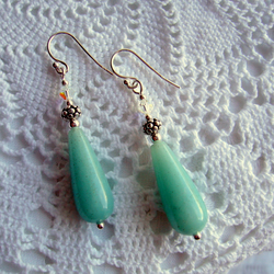Amazonite Gemstone Drops and Swarovski Crystal,Sterling Silver Earrings...