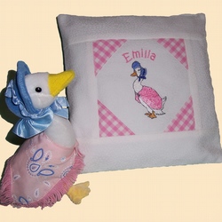 Jemima Puddleduck Embroidered Birth Cushion