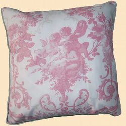 Pink Cotton Toile de Jouy Print Cushion Cover & Pad