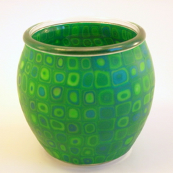 Tea Light or Votive Candle Holder. Green Retro Klimt Inspired Design