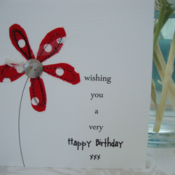 polka dot flower birthday card