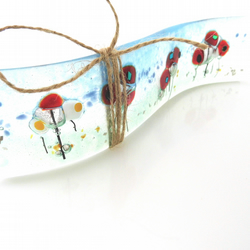 poppy fused glass  wave