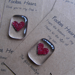 fathers day card keepsake card personalised  fused glass pocket heart