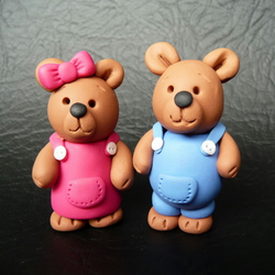 Belinda and Barnaby polymer clay bears