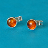 Amber Earrings with Sterling Silver Earring Studs, 5mm Gemstones