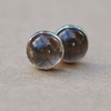 Smokey Quartz Earrings, Sterling Silver Studs handmade, 6 mm gemstone gift idea