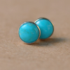 Turquoise and Silver Earrings with Sterling Silver studs, 6mm gemstones