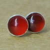 Carnelian Earrings with Silver Studs, 6mm Carnelian Gemstones with Sterling Silv