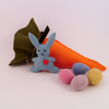 CARROT TREAT BAG AND BUNNY BROOCH (one)