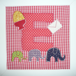 personalised initial fabric picture