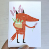 Fox and Flora Flowers Handmade Screenprinted Card