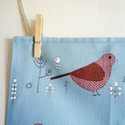 Cute Bird Blue Tea Towel dish Cloth, 100% Cotton