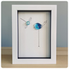 Bird and dragonfly picture box framed with a fused glass bird in blue tones
