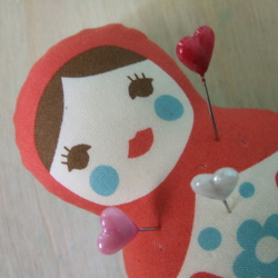 Babushka pincushion or doll - Red